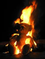 burning teddy bear